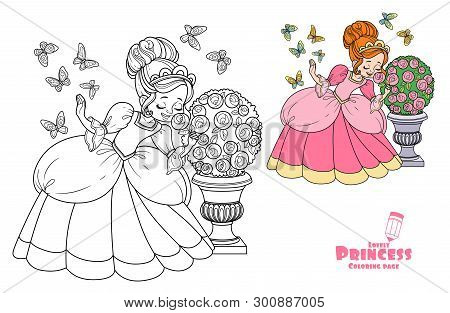 Beautiful Princess Sniffs A Rose Flower And Butterflies Flutter Around Color And Outlined For Colori