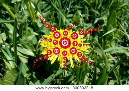 Geometrical Hallucination Of Red Prana Circles Of Light, Trans Trip Narcotic Effects Of Shamanic Fun