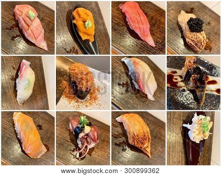 Omakase Sushi Experience At A High End Japanese Restaurant Serving Individual Nigiri Sushi Pieces Pr