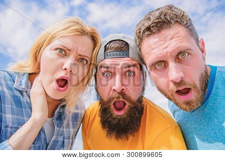 Amazed Surprised Face Expression. How To Impress People. Shocking Impression. Men With Beard And Wom