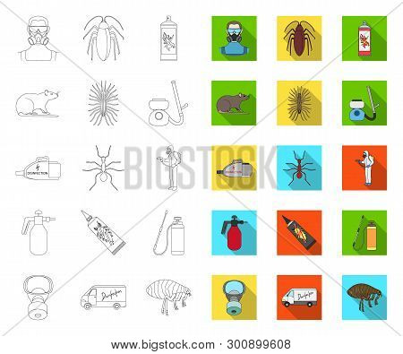 Pest, Poison, Personnel And Equipment Outline, Flat Icons In Set Collection For Design. Pest Control