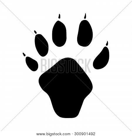 Indian Marten Footprint. Black Silhouette Design. Vector Illustration.