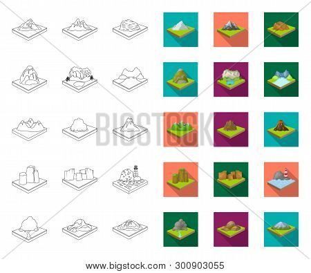 Mountains, Massive Outline, Flat Icons In Set Collection For Design. The Surface Of The Earth Vector