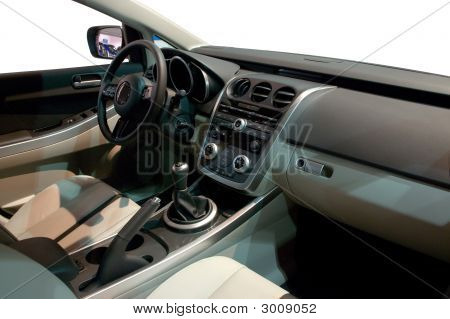 stylish Interior of a Modern Family Size Car poster