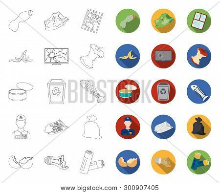 Garbage And Waste Outline, Flat Icons In Set Collection For Design. Cleaning Garbage Vector Symbol S