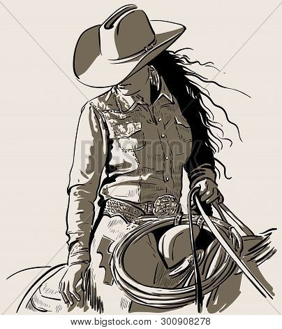 Woman With A Cowboy Hat. Cowboy Girl Riding Horse With Lasso. Hand Drawn Vector Illustration. Illust