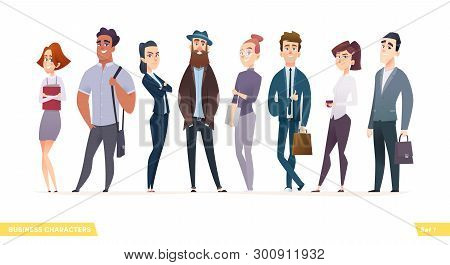 Collection Of Charming Young Businessmen And Managers.business People Standing Togever Flat Modern C