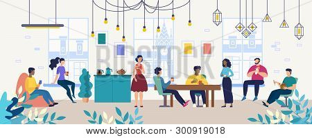 Lunch, Coffee Break With Colleagues In Company, Coworking Office Flat Vector Concept. Multinational