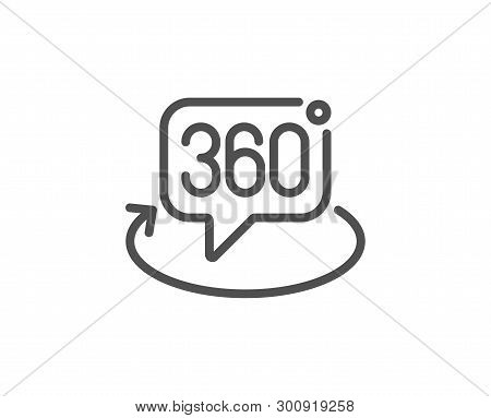 360 Degree Line Icon. Vr Technology Simulation Sign. Panoramic View Symbol. Quality Design Element.