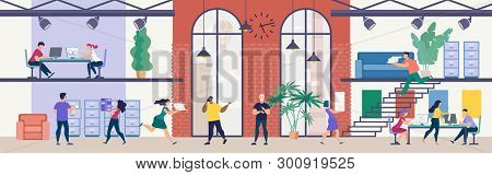 Modern Office Work, Time Management In Business Flat Vector Concept. Company Employees Working Toget