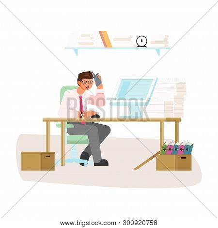 Workaholism Addiction Concept. Employee Is Hard Working. Tired Businessman In The Office With Comput