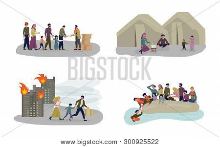 European Migrant Crisis Concept Set. Refugee Family With Children. Sailing To Europe On The Boat. Cr