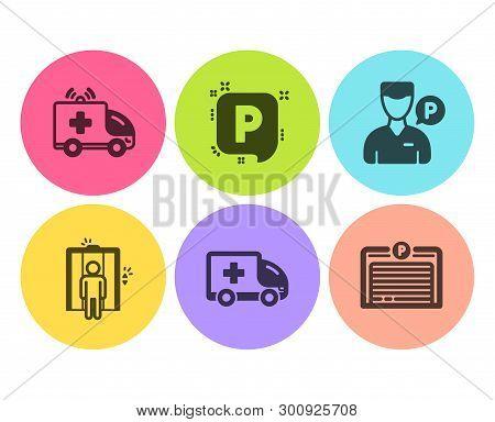 Valet Servant, Parking And Ambulance Car Icons Simple Set. Ambulance Emergency, Elevator And Parking