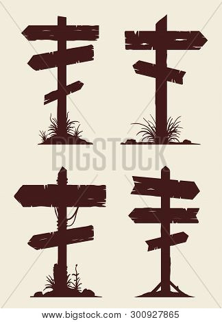 Wooden Billboard Banners Or Directional Guidepost Vector