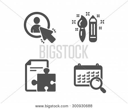 Set Of User, Creativity And Strategy Icons. Search Calendar Sign. Project Manager, Graphic Art, Puzz