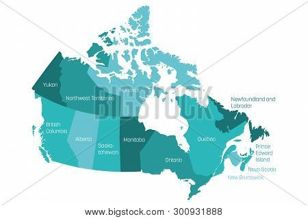 Map Of Canada Divided Into 10 Provinces And 3 Territories. Administrative Regions Of Canada With Lab