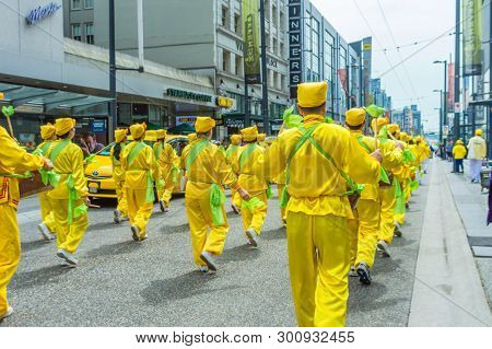 May 12, 2019 - Vancouver, Canada: Falun Dafa Members In Parade On Granville Street In Vancouver On M
