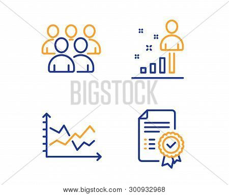 Group, Diagram chart and Stats icons simple set. Certificate sign. Developers, Presentation graph, Business analysis. Verified document. Education set. Linear group icon. Colorful design set. Vector poster