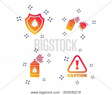 Bug Disinfection Icons. Caution Attention And Shield Symbols. Insect Fumigation Spray Sign. Random D