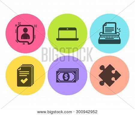 Handout, Typewriter And Laptop Icons Simple Set. Payment, Developers Chat And Strategy Signs. Docume