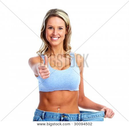 Weight loss. Getting slim woman. Isolated on white background.