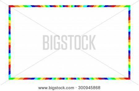 Frame With Rainbow For Decoration And Illustration. Motley Full Coloration Design, Segments Of Diffe