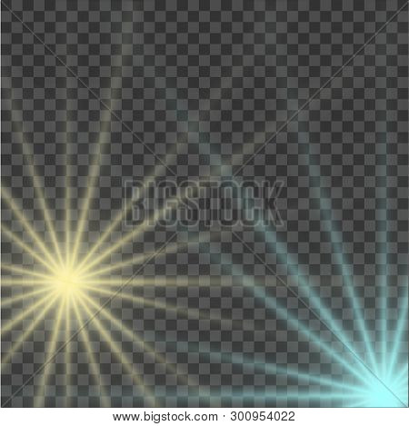 Blue And Yellow Beautiful Light Explodes With A Transparent Explosion. Vector, Bright Illustration F