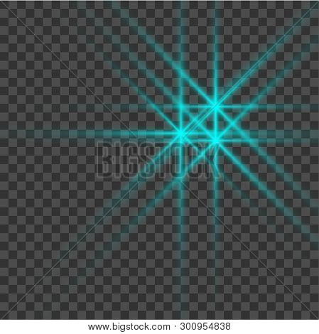 Blue Beautiful Light Explodes With A Transparent Explosion. Vector, Bright Illustration For Perfect