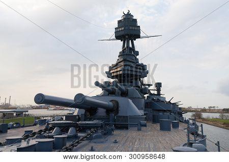 Houston, Texas, Usa - December 27, 2016: Battleship Uss Texas Bb-35, Is A Museum Ship Near Houston,