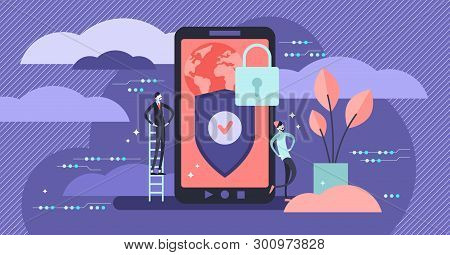 Privacy Vector Illustration. Flat Tiny Secured Smart Phone Person Concept. Personal Information Encr