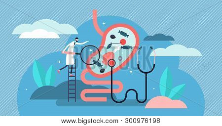 Gastroenterology Vector Illustration. Flat Tiny Stomach Doctor Persons Concept. Medical Internal Org