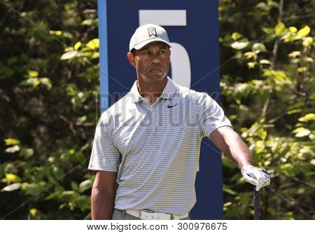 PONTE VEDRA BEACH, FL-MAR 14: Tiger Woods waits on the 5th tee during the first round of The PLAYERS Championship on The Stadium Course at TPC Sawgrass on March 14, 2019 in Ponte Vedra Beach, Florida.
