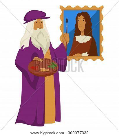 Renaissance Artist Leonardo Da Vinci With Palette And Paintbrush And Portrait