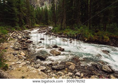 Wonderful Fast Water Stream From Glacier In Wild Mountain Creek With Stones. Amazing Scenic Landscap