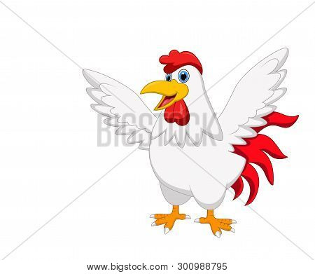 Cute Rooster Cartoon Posing Isolated On White Background