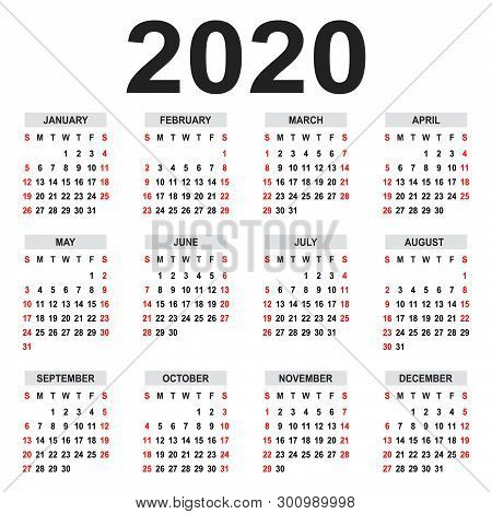 Calendar 2020. Week Starts On Sunday. Basic Grid - Template For Annual Calendar 2020
