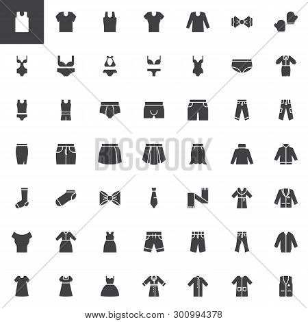 Clothes And Accessories Vector Icons Set, Modern Solid Symbol Collection, Filled Style Pictogram Pac