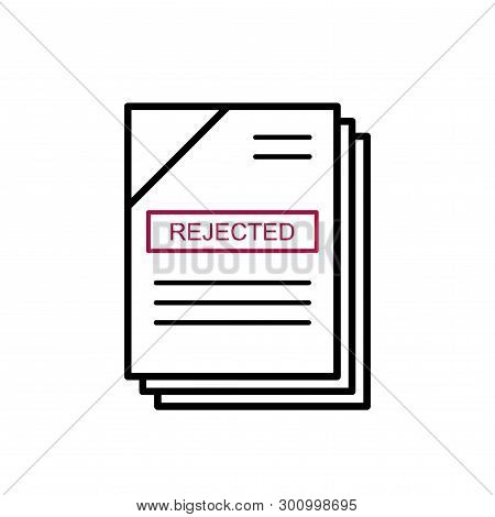 Flat Linear Design. Flat Icon Of Rejected Or Unaccepted Documents Or Files For Applications And Web