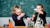 Girls school uniform excited proving their hypothesis. Gymnasium students with in depth study of natural sciences. School project investigation. School experiment. School for gifted children poster