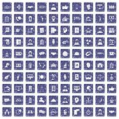 100 coherence icons set in grunge style sapphire color isolated on white background illustration poster