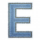 Jeans alphabet. Letter E. Vector eps10 background poster
