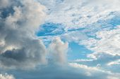 Dramatic clouds on the vast blue sky, background poster
