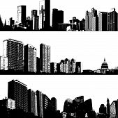 Three high contrast vector city building skylines poster