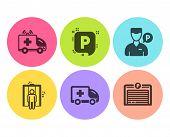 Valet servant, Parking and Ambulance car icons simple set. Ambulance emergency, Elevator and Parking garage signs. Auto park, Emergency transport. Transportation set. Flat valet servant icon. Vector poster