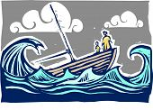 Boat with woman and child sinking in the waves poster