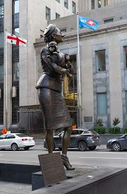 Montreal, Quebec, Canada, - September 28, 2018: Street With French Poodle Monumental Bronze Sculptur