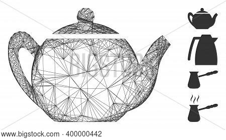 Vector Net Teapot. Geometric Hatched Frame 2d Net Made From Teapot Icon, Designed From Crossing Line