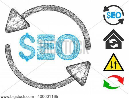 Vector Wire Frame Update Seo. Geometric Wire Frame Flat Network Generated With Update Seo Icon, Desi