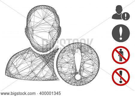 Vector Wire Frame User Exclamation. Geometric Wire Frame Flat Net Made From User Exclamation Icon, D