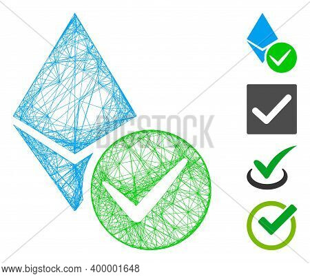 Vector Network Valid Ethereum Crystal. Geometric Hatched Carcass Flat Network Generated With Valid E